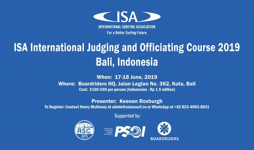 ISA International Judging and Officiating Course to be held in Bali from 17-18 June