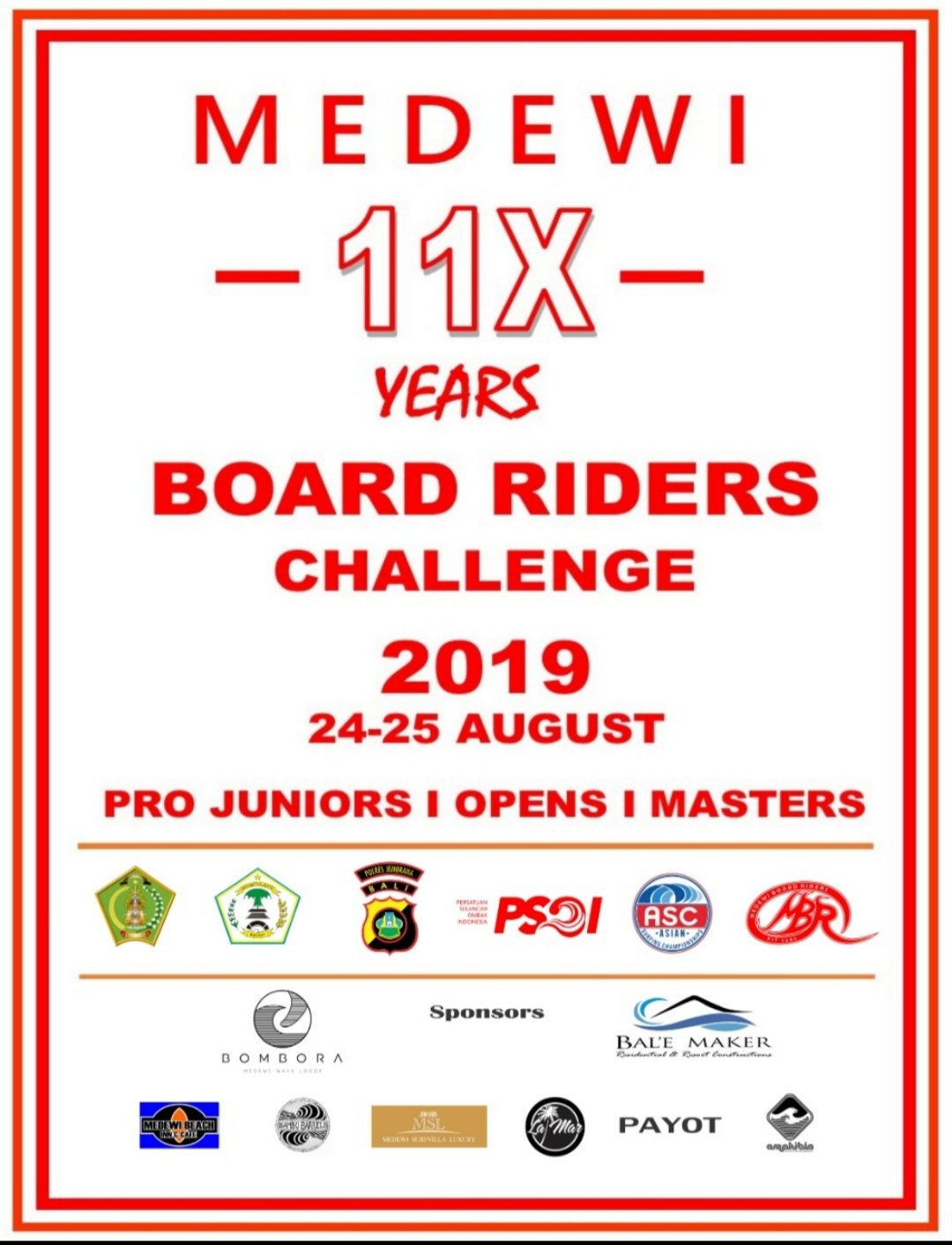 Medewi Boardriders National Surfing Challenge 24-25August 2019